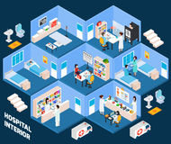 Hospital isometric interior Stock Photos