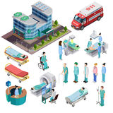 Hospital Isometric Isolated Icons. Set of clinic building ambulance car diagnostic equipment patients and medical staff vector illustration Royalty Free Stock Image