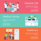Hospital Life, Medical Service and Healthcare. Web page design with descriptions of clinical services. Vector with doctors, patients and equipment Royalty Free Stock Photos