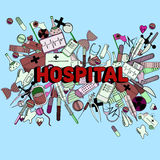 Hospital line art design vector illustration Royalty Free Stock Photos