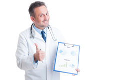 Hospital manager presenting medicine sales and financial predict Stock Photos