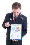 Hospital manager showing profit and prediction chart Stock Images