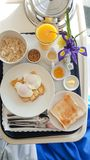 Hospital meal tray with breakfast foods Stock Photos