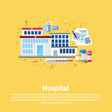 Hospital Medical Application Health Care Medicine Online Web Banner. Flat Vector Illustration Royalty Free Stock Images