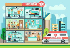 Hospital, medical clinic building, ambulance with patients and doctors healthcare vector flat illustration Stock Photos
