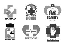 Medical hospital and pharmacy vector icons. Hospital, medical clinic and pharmacy logo templates set. Vector icons of pharmaceutical cross and pills, cardiology Royalty Free Stock Photography