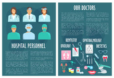 Hospital medical doctor personnel vector posters Stock Image