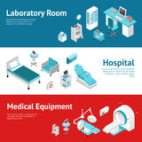 Hospital Medical Equipment Flat Banners Set Stock Photography