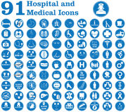 Hospital and medical icons. 91 useful hospital and medical icons and signs like doctor, patient, ambulance, medicines, surgery and other signs inside and outside Royalty Free Stock Photo