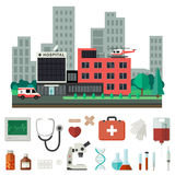 Hospital with medical icons. Stock Photo