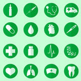Hospital and medical icons set in circle Royalty Free Stock Image