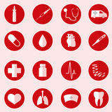 Hospital and medical icons set in red circle vector illustration