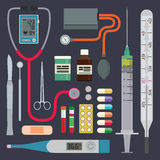 Hospital - Medical Instruments. Medical instruments and equipment in flat design Royalty Free Stock Photos