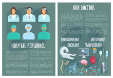 Hospital medical personnel, doctor poster design Royalty Free Stock Photography