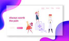 Hospital Medical Service Equipment Landing Page. Medicine Chemistry Science Character with Syringe. Pharmacist. Hold Pill for Treatment Website or Web Page stock illustration