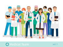 Hospital or medical staff cartoon characters. Hospital or medical lab staff vector illustration. Male and female health professionals cartoon characters Royalty Free Stock Photography