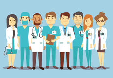 Hospital medical staff team doctors nurses surgeon vector flat illustration. Of character doctor with stethoscope, reliable team of doctors Stock Images