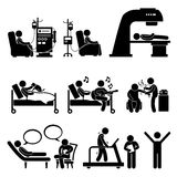 Hospital Medical Therapy Treatment Cliparts. A set of human pictograms representing patient in hospital for dialysis, chemotherapy, radiation therapy, animal Stock Photography