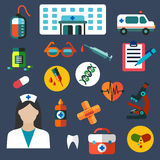 Hospital and medicine flat icons Stock Image