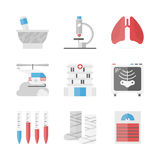 Hospital and medicine flat icons set. Flat icons set of health care and hospital institution, patient treatment, blood test and medical research, x-rays Royalty Free Stock Image