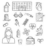 Hospital and medicine sketch objects. Medical sketched icons of hospital building, doctor and first aid kit, glasses and microscope, medicine bottles and blood Stock Photos