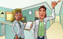Hospital and medics. Medics in a hotpital, they look happy Stock Photo