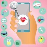 Hospital on mobile Stock Image