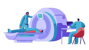 Hospital Mri Machine for Patient Brain Scan. Doctor Research Man Character Health with Computer Tomography Resonance Scanner. Healthcare Diagnostic Concept royalty free illustration