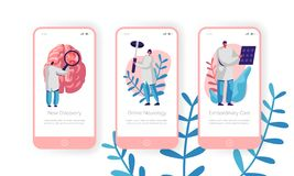 Hospital Neurology Department Mobile App Page Onboard Screen Set. Intensive Caring, Discovery and Extraordinary Care. Clinical Pathology Test Website or Web vector illustration