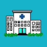 Hospital no estilo da arte do pixel no fundo azul Foto de Stock Royalty Free