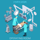 Hospital operating room doctors patient flat vector isometric 3d. Hospital operating room process flat 3d isometry isometric concept web vector illustration. Two Stock Photography