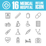 Hospital outline icon. Set of hospital outline icon, isolatet on white background Royalty Free Stock Photo