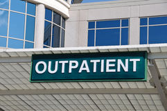 Hospital Outpatient Entrance Sign. Outpatient Sign over a Hospital Outpatient Services Entrance Royalty Free Stock Photography