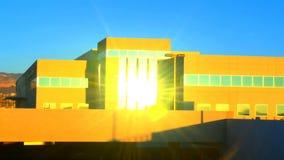 Hospital park panning stock video footage