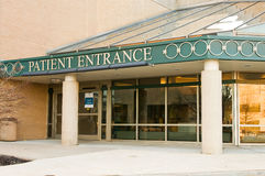 Hospital patient entrance. Sign at a hospital entrance for patients Stock Photography