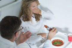 Hospital patient rejecting food Stock Images