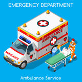 Hospital 18 People Isometric. Clinic Emergency Department Ambulance Service. First Aid and Hospitalization Set. Adult Patient on Stretcher carried by Hospital Royalty Free Stock Photo
