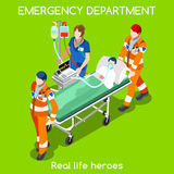 Hospital 22 People Isometric. Clinic Emergency Department Ambulance Service. First Aid and Hospitalization Set. Adult Patient on Stretcher carried by Hospital Stock Image