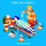 Hospital 13 People Isometric. First Medical Aid Emergency Intensive Care Department. Patient Resuscitation Medical Intervention Hospital. NEW bright palette 3D Stock Photography