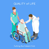 Hospital 10 People Isometric. Healthcare Quality of Life as First Aim. QoL as First Care. Patient Disease Hospitalization Medical Insurance Hospital. Old Patient Stock Photography