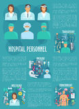 Hospital personnel vector poster template Stock Photos