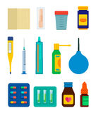 Hospital and pharmacy items vector set. Set of pharmacy and medical items isolated on white background. Vector illustration Royalty Free Stock Images