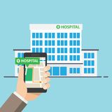 Hospital ,Pharmacy Pointer on Map Location. Find closest on city map. vector illustration Royalty Free Stock Photos