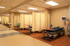 Hospital Room. Spacious Hospital Room in Pres-Operative Area Stock Photo