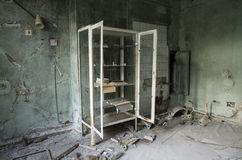 Hospital in Pripyat city abandoned after the Chernobyl disaster Royalty Free Stock Images