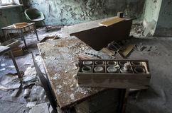 Hospital in Pripyat city abandoned after the Chernobyl disaster royalty free stock image
