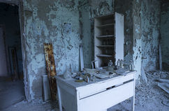 Hospital in Pripyat city abandoned after the Chernobyl disaster Stock Photo
