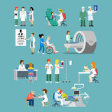 Hospital profession patient flat 3d isometric medical vector. Flat style hospital profession specialist concept vector people icon set for hospital patient team Stock Photo