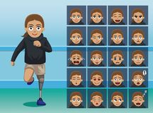 Hospital Prosthetic Leg Cartoon Character Emotion faces. Cartoon Emoticons EPS10 File Format Royalty Free Stock Image
