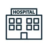 Hospital que constrói o ícone dianteiro Imagem de Stock Royalty Free